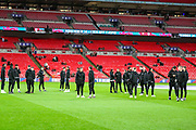 The England team on the pitch ahead of the UEFA European 2020 Qualifier match between England and Montenegro at Wembley Stadium, London, England on 14 November 2019.