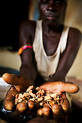 Traditional healer Kama Mbagnick holds a handful of wooden chips from a local tree used for its healing properties at the traditional medicine center in Fatick, Senegal on August 6, 2009. The center mixes modern medicine techniques with African medicine provided by traditional healers.