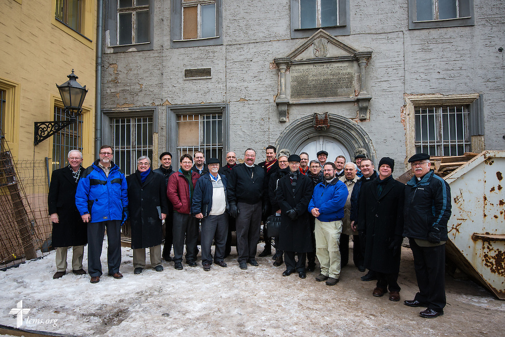 Members of the International Lutheran Society of Wittenberg (ILSW) and others gather for a group photograph outside the Old Latin School Wednesday, Jan. 29, 2014, in Wittenberg, Germany. LCMS Communications/Erik M. Lunsford