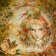 Drawing of a beautiful girl within circles of fall colored nature elements