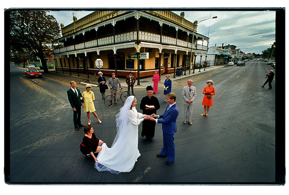 csz990629.002.002.jpg..Cast of the St Arnaud production of Dimboola perform the wedding vow scene on the sunraysia highway in St Arnaud in front of the Botanical Hotel..picture by craig sillitoe..for the age general news melbourne photographers, commercial photographers, industrial photographers, corporate photographer, architectural photographers, This photograph can be used for non commercial uses with attribution. Credit: Craig Sillitoe Photography / http://www.csillitoe.com<br />