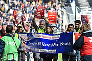 """Muslims for Peace march around stadium MK in support of the """"kick it out"""" campaign during the EFL Sky Bet League 2 match between Milton Keynes Dons and Mansfield Town at stadium:mk, Milton Keynes, England on 4 May 2019."""