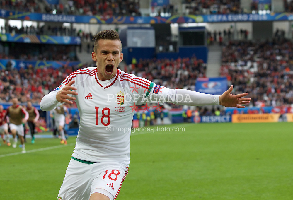 BORDEAUX, FRANCE - Monday, June 14, 2016: Hungary's Zoltan Stieber celebrates scoring the second goal during the UEFA Euro 2016 Championship match against Austria at Stade de Bordeaux. (Pic by Paul Greenwood/Propaganda)