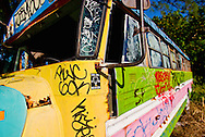 A colorful broken-down school bus at Jimbo's on Miami's Virginia Key. WATERMARKS WILL NOT APPEAR ON PRINTS OR LICENSED IMAGES.