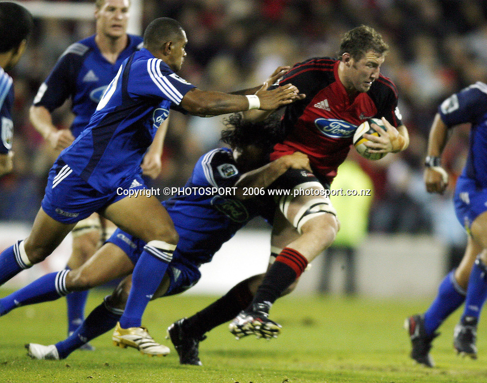 Chris Jack tries to beat the defence during the 2006 Super 14 Rugby Union match won by the Crusaders over the Blues 39-10 at Jade Stadium, Christchurch, on Saturday 4 March 2006. Photo: Anthony Phelps/PHOTOSPORT