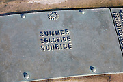 Euroscope, Ness Point, Lowestoft, Suffolk, England, Britain's most easterly point. Summer solstice sunrise plaque