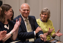© Licensed to London News Pictures. 20/07/2017. London, UK. Newly elected Liberal Democrat party leader Sir Vince Cable sits between his wife Rachel Smith and former leader Tim Farron (L). Tim Farron stepped down after the general election.  Photo credit: Peter Macdiarmid/LNP