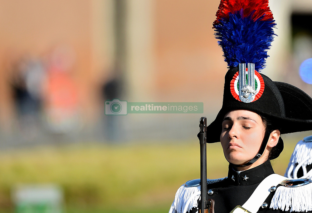 April 25, 2017 - Rome, Italy - The celebrations on April 25 opened with the ceremony of deposition of the crown at Victorian on the tomb of the Unknown Soldier by the President of the Republic, Sergio Mattarella. Also present at the ceremony were the Minister of Defense Roberta Pinotti, the President of the Senate, Pietro Grasso and the President of the Council, Paolo Gentiloni. (Credit Image: © Andrea Franceschini/Pacific Press via ZUMA Wire)