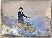 severely eroding glass plate of woman posing with bicycle