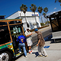 ST. PETERSBURG, FL -- March 11, 2010 -- A trolley-inspired Pinellas Suncoast Transit Authority bus picks up and drops off travelers in St. Pete Beach in St. Petersburg, Fla., on Wednesday, March 11, 2010. The proposed Tampa-Orlando high speed rail project will connect Orlando and Tampa but the questions remains how much it will be used and how long it will take to get from places cement to sand after riding it.