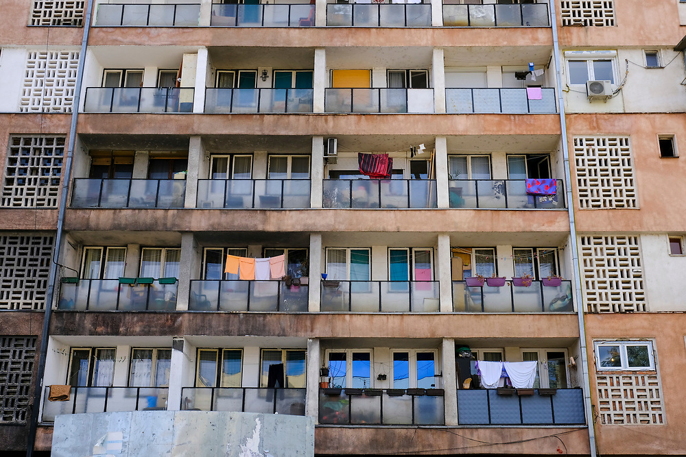 A block of flats just on the on the Serbian side (north side) of the Mitrovica bridge, over the river Ibar which separates the Serbian and Albanian districts of Mitrovica, Kosovo on the 12th of December 2018.  (photo by Andrew Aitchison / In pictures via Getty Images)