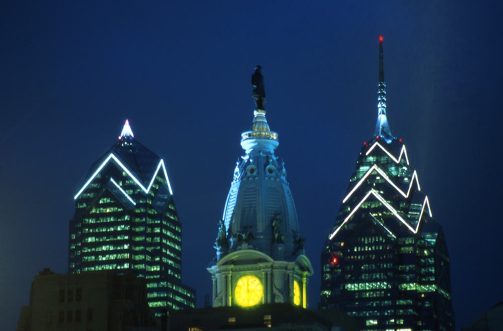 Philadelphia, City Hall, William Penn Statue and Skyscraper Buildings, BNY Mellon Center, Bell Atlantic Tower, Night Lights