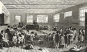 Ragged Schools: Brook Street Ragged and Industrial School, Hampstead Road, London. The classroom with a master at centre back and mistress middle left.  From 'The Illustrated London News',  London,17 December 1853.