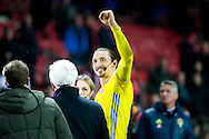 17.11.2015. Copenhagen, Denmark. <br /> Zlatan Ibrahimovic of Sweden celebrates their UEFA EURO 2016 qualification at the end of their UEFA EURO 2016 play-off second leg against Denmark at the Telia Parken Stadium. <br /> Photo: © Ricardo Ramirez.