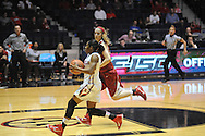 "Ole Miss' Erika Sisk (5) drives the lane against Arkansas' Melissa Wolff (33) at the C.M. ""Tad"" Smith Coliseum in Oxford, Miss. on Friday, January 2, 2015. (AP Photo/Oxford Eagle, Bruce Newman)"