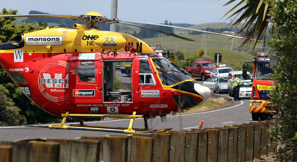 A seriously injured motor cyclist was airlifted to hospital following a crash at the on ramp from SH56 to SH1 on the southern side of the Bombay Hills, Auckland, New Zealand, Sunday, December 07, 2014. Credit:SNPA / Daniel Hines