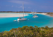 6204-1026  Sailboats at anchor at Waderick Wells, Exuma Land and Sea Park, Bahamas.