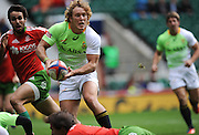 LONDON, ENGLAND - Saturday 10 May 2014, dWerner Kok of South Africa uring the match between South Africa and Portugal at the Marriott London Sevens rugby tournament being held at Twickenham Rugby Stadium in London as part of the HSBC Sevens World Series.<br /> Photo by Roger Sedres/ImageSA