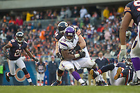 25 November 2012: Running back (28) Adrian Peterson of the Minnesota Vikings runs the ball and is tackled by (54) Brian Urlacher of the Chicago Bears during the second half of the Bears 28-10 victory over the Vikings in an NFL football game at Soldier Field in Chicago, IL.