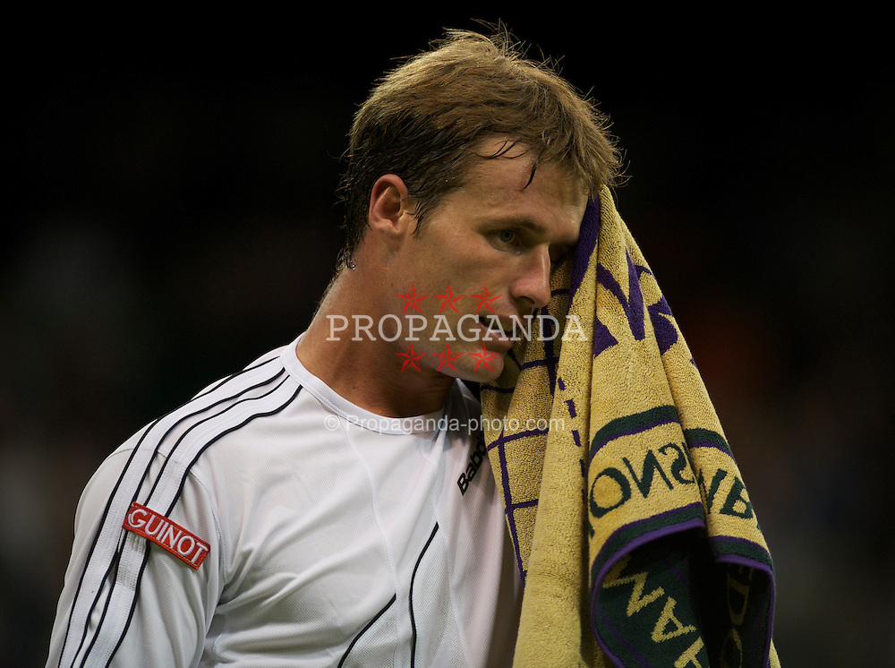 LONDON, ENGLAND - Monday, June 20, 2011: Daniel Gimeno-Traver (ESP) looks dejected during the Gentlemen's Singles 1st Round on day one of the Wimbledon Lawn Tennis Championships at the All England Lawn Tennis and Croquet Club. (Pic by David Rawcliffe/Propaganda)