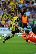 Burton's Stuart Beavon scores the team's first goal in League 1 during the Sky Bet League 1 match between Burton Albion and Scunthorpe United at the Pirelli Stadium, Burton upon Trent, England on 8 August 2015. Photo by Aaron Lupton.