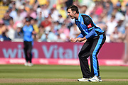 Ed Barnard of Worcestershire Rapids celebrates the wicket of Chris Nash during the Vitality T20 Finals Day 2019 match between Notts Outlaws and Worcestershire Rapids at Edgbaston, Birmingham, United Kingdom on 21 September 2019.