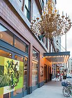 21c Museum Hotel's outdoor chandelier in Downtown Cincinnati