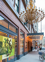 21c Museum Hotel's outdoor chandelier in Downtown Cincinnati