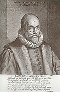 Jacobus Arminius (October 10, 1560 – October 19, 1609), Dutch theologian Jakob Hermanszoon from the Protestant Reformation period. Served from 1603 as professor in theology at the University of Leiden. He wrote many books and treatises on theology, and his views became the basis of Arminianism and the Dutch Remonstrant movement.
