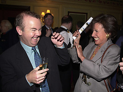 MR IAN HISLOP and LADY (Carla) POWELL at a reception in London on 4th April 2000.OCR 78<br /> © Desmond O'Neill Features:- 020 8971 9600<br />    10 Victoria Mews, London.  SW18 3PY  photos@donfeatures.com   www.donfeatures.com<br /> MINIMUM REPRODUCTION FEE AS AGREED.<br /> PHOTOGRAPH BY DOMINIC O'NEILL
