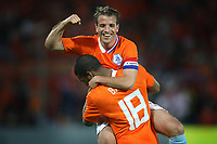 Fotball<br /> Nederland / Holland<br /> Foto: ProShots/Digitalsport<br /> NORWAY ONLY<br /> <br /> Nederland / Holland v Ukrania<br /> <br /> rotterdam , 24-05-2008 oefeninterland nederland - oekraine 3-0 rafael van der vaart viert de goal van ryan babel