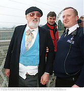David Kirke's being arrested after his 21 St Anniversary  bungy jump off Clifton Suspension Bridge. 1 April 2000. <br />