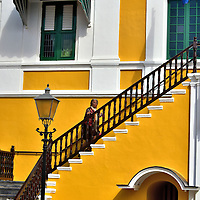 Governor on Stairs at Fort Amsterdam in Punda, Eastside of Willemstad, Cura&ccedil;ao  <br />