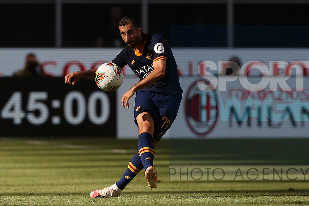 AS Roma's Armenian midfielder Henrikh Mkhitaryan plays the ball forwards during the Serie A match at Giuseppe Meazza, Milan. Picture date: 28th June 2020. Picture credit should read: Jonathan Moscrop/Sportimage