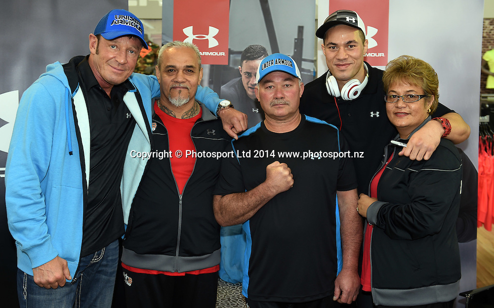 Boxer Joseph Parker during a signing session at Rebel Sport Manukau for sponsor Under Armour ahead of the Parker v Minto Hydr8 Zero Heavyweight Explosion fight scheduled for 5 July 2014. Auckland. Saturday 28 June 2014. Photo: Andrew Cornaga/www.photosport.co.nz