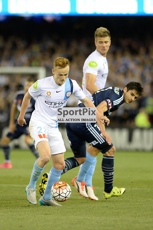 """Jack Clisby of Melbourne City, Gui Finkler of Melbourne Victory - Hyundai A-League - October 17th 2015 - ROUND 2- Melbourne Victory FC v Melbourne City FC in the first derby for the 2015 season with a 3:2 win to Victory on the 90"""" - © Mark Avellino 