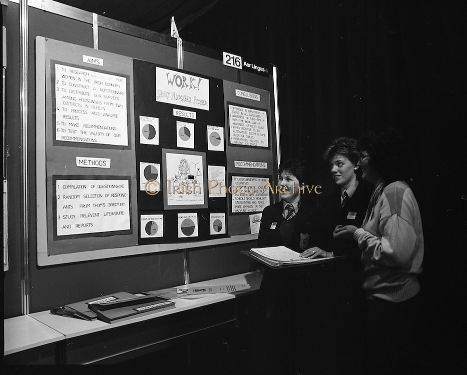 11/01/1985.01/11/1985.11th January 1985.The Aer Lingus Young Scientist Exhibition at the RDS Dublin ..Elaine O'Reilly (left) and Clodagh O'Herlihy (fourth from left) both of the Loretto Abbey, Dalkey, Co. Dublin showing their Exhibit 'Work, The Housewife's Flexible Friend'.