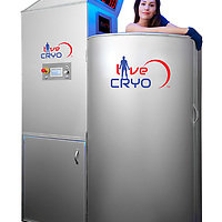 model in cryo chamber, shot on location in Dallas, Tx