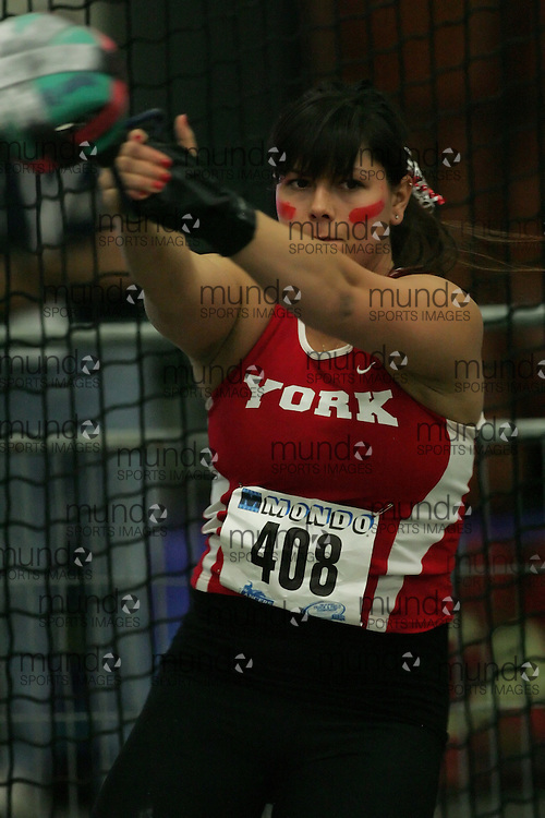 (Windsor, Ontario---11 March 2010) Kristin Obrochta of York University Yoemen competes in the  competes in the  at the 2010 Canadian Interuniversity Sport Track and Field Championships at the St. Denis Center. Photograph copyright Sean Burges/Mundo Sport Images. www.mundosportimages.com