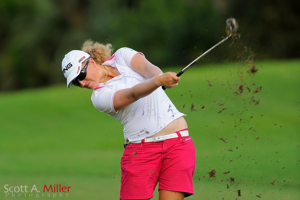 Perrine Delacour during the rain-delayed third round of the Symetra Tour Championship at LPGA International on Sept. 29, 2013 in Daytona Beach, Florida. <br /> <br /> <br /> &copy;2013 Scott A. Miller