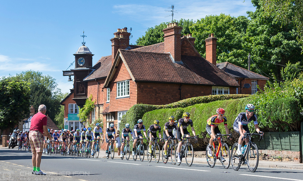 The peloton rides through the Surrey countryside at Abinger Hammer during the Prudential RideLondon-Surrey Classic, Sunday 2nd August 2015. <br /> <br /> Prudential RideLondon is the world&rsquo;s greatest festival of cycling, involving 95,000+ cyclists &ndash; from Olympic champions to a free family fun ride - riding in five events over closed roads in London and Surrey over the weekend of 1st and 2nd August 2015. <br /> <br /> Photo: Christopher Ison for Prudential RideLondon<br /> <br /> See www.PrudentialRideLondon.co.uk for more.<br /> <br /> For further information: Penny Dain 07799 170433<br /> pennyd@ridelondon.co.uk