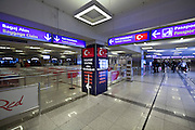 border passport control and baggage claim entrance gate at Istanbul Ataturk Airport Turkey