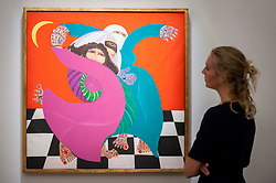 "© Licensed to London News Pictures. 20/10/2017. London, UK. A staff member views ""The Zar (from the Woman and Magic series)"", 1992, by Laila Shawa, (GBP20-30k), at a preview of Islamic, Middle Eastern and other artworks which be auctioned at Sotheby's New Bond Street on 24 and 25 October. Photo credit : Stephen Chung/LNP"