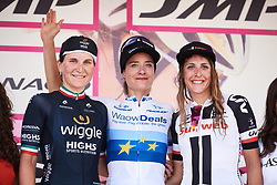 Top three on the stage: Marianne Vos (NED), Elisa Longo Borghini (ITA) and Lucinda Brand (NED) at Giro Rosa 2018 - Stage 8, a 126.2 km road race from San Giorgio di Perlena to Breganze, Italy on July 13, 2018. Photo by Sean Robinson/velofocus.com