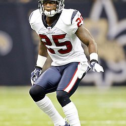 September 25, 2011; New Orleans, LA, USA; Houston Texans cornerback Kareem Jackson (25) against the New Orleans Saints during the fourth quarter at the Louisiana Superdome. The Saints defeated the Texans 40-33. Mandatory Credit: Derick E. Hingle