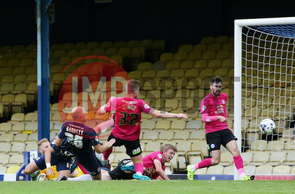 Southend United's Adam Barrett scores the opening goal - Mandatory byline: Joe Dent/JMP - 07966386802 - 05/09/2015 - FOOTBALL - Roots Hall -Southend,England - Southend United v Peterborough United - Sky Bet League One