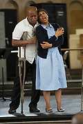 "Musa Ngqungwana as Porgy, left, and Talise Trevigne as Bess perform at Attica Correctional Facility in Attica, New York on Tuesday, July 25, 2017. The Glimmerglass Festival, an opera company in Cooperstown, New York, performed songs from George Gershwin's ""Porgy and Bess"" for inmates."