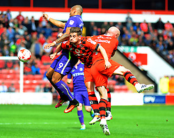 Josh Magennis of Charlton Athletic of Charlton Athletic wins the high ball against Joe Edwards of Walsall - Mandatory by-line: Nizaam Jones/JMP - 20/08/2016 - FOOTBALL - Banks Stadium - Walsall, England- Walsall v Charlton Athletic  - Sky Bet League One