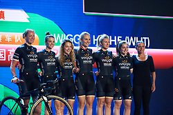 Wiggle High5 are presented to the crowds at Tour of Chongming Island 2018 Team Presentation, at Chongming District Gymnasium on April 25, 2018. Photo by Sean Robinson/Velofocus.com