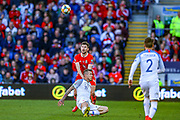 Wales defender Ben Davies tussles with Slovakia midfielder Juraj Kucka during the UEFA European 2020 Qualifier match between Wales and Slovakia at the Cardiff City Stadium, Cardiff, Wales on 24 March 2019.